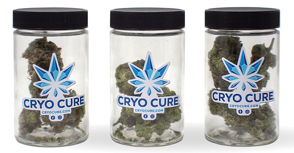 Cryo Cure freeze dried cannabis in jars for Contact Cryo Cure banner
